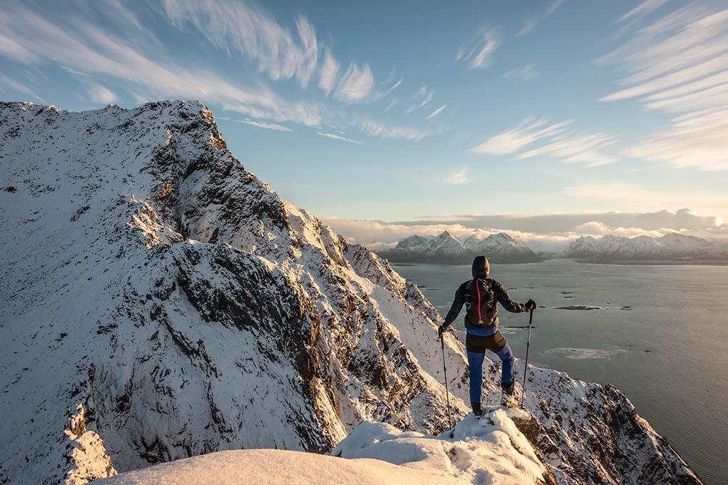 Mountain hiking winter on Hadseløya